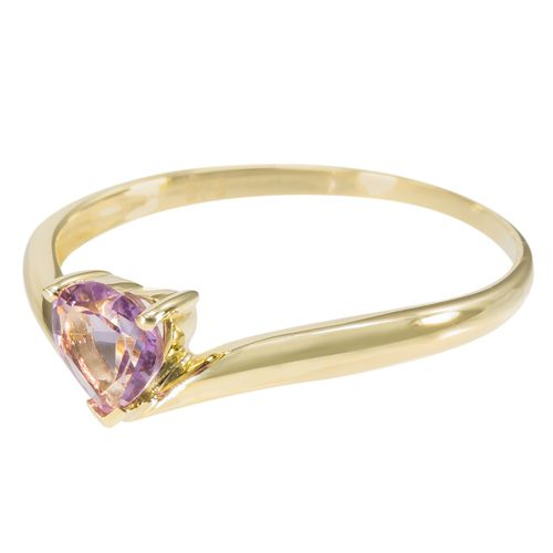 9ct Yellow Gold Chevron Style Amethyst Heart Ring only $99 - purejewels.com.au