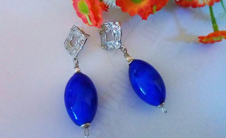 Ceramic pearls Earrings/Boho electric blue earrings/Blue pendant earrings/Orecchini a pendente azzurri/Orecchini Boho perle di ceramica di Athiss su Etsy