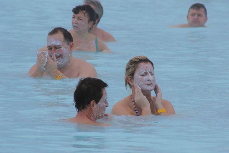 Some of the group looked years younger after caking their faces in the natural anti-aging mud!
