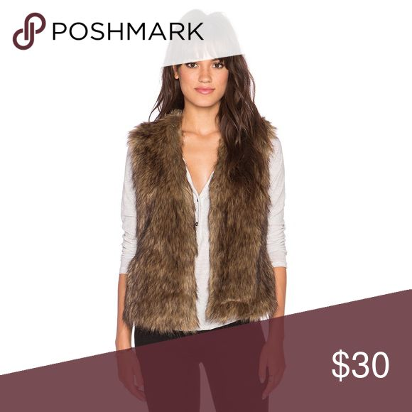 Jack by BB Dakota Castleton Faux Fur Vest Jack by BB Dakota Acrylic blend faux fur jacket in brown and tan blend. Hook front closure. Side seam pockets. Sold on Revolve.com and Nordstroms. Only worn once to a holiday party for a few hours. ❌ No Trades ❌ Jack by BB Dakota Jackets & Coats Vests