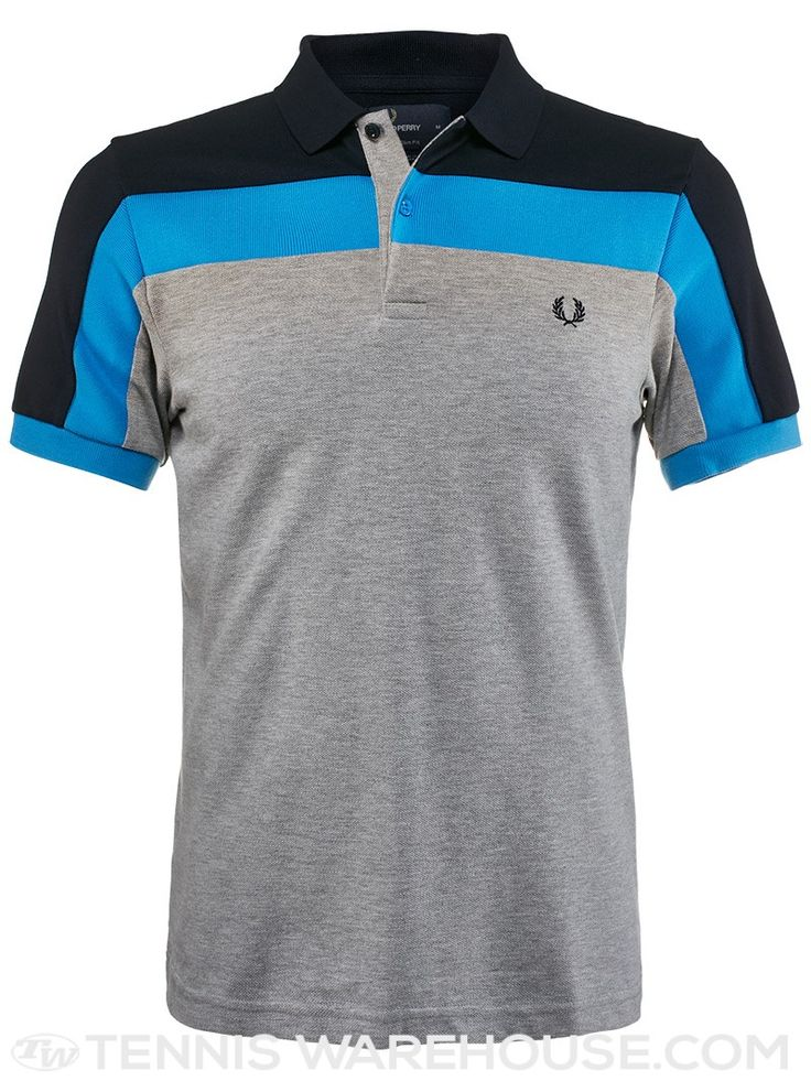 Fred Perry Spring Panelled Pique Polo (Grey & Blue)