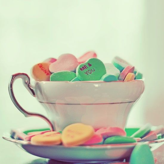 Teacup Filled With Heart Candy