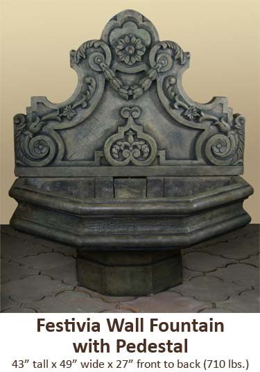 festivia wall fountain with pedestal