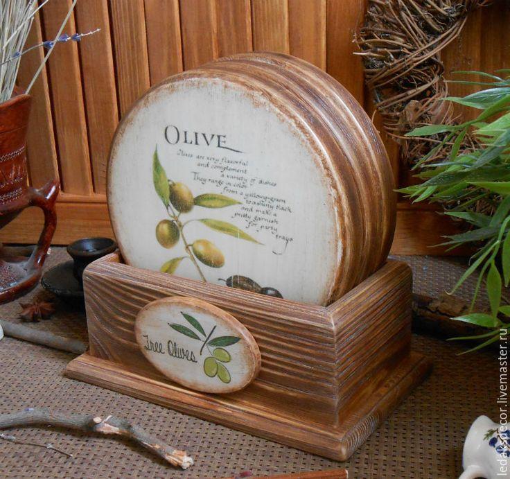 """Купить Сырные досочки """"Три оливки"""" - коричневый, набор для кухни, кухонные принадлежности, кухонная утварь"""