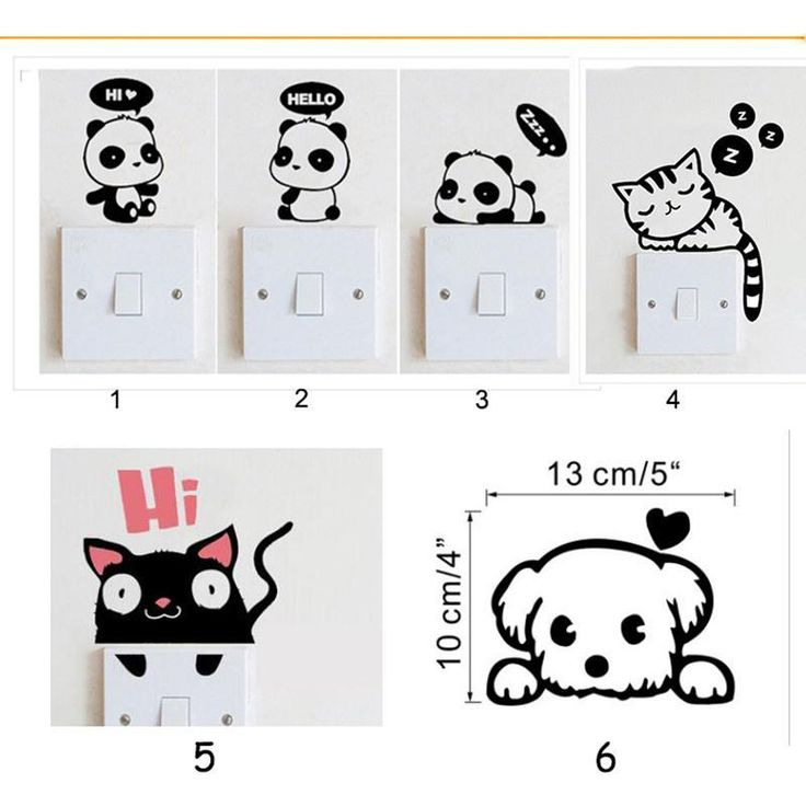 funny decoration switch stickers 6 Styles Cartoon Animal Eco Friendly Home Decoration Switch Wall Stickers for Kids Room45(China (Mainland))