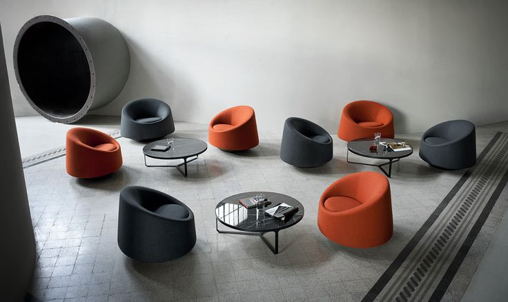 Crystal Round Swivel Armchair by Pearson Lloyd for Tacchini. Available from Stylecraft.com.au