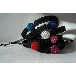 Colección pulseras bolas strass en colores blanco, rosa, rojo, azul turquesa, azul oscuro y granate.