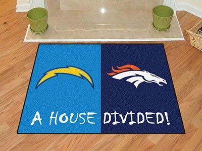 """NFL - San Diego Chargers/Denver Broncos House Divided Rugs 33.75""""x42.5"""""""