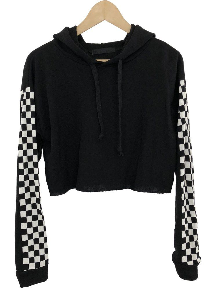 97502f6e3 checkered hoodie crop | Crop tops | Checkered outfit, Cropped hoodie ...