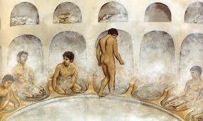 Muy pocas casas romanas contaban con baño, la higiene diaria dependía de asistir a las termas o baños públicos.
