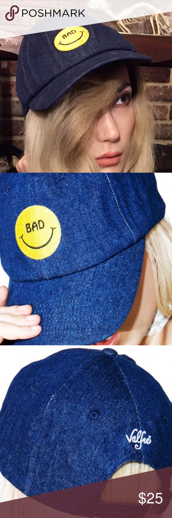 "Valfre Bad denim hat But it feels so good to be bad   This classic fit denim snapback hat features an embroidered smiley face with the text ""BAD"".   Features an embroidered smiley face Adjustable back strap with metal closure  100% cotton One size fits all BAD"".  🍭new and unworn-came without  tags but still have original packaging. Still full price on the valfre site valfre Accessories Hats"