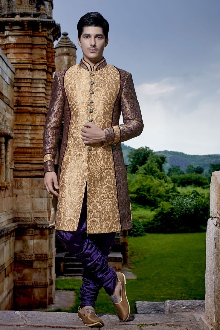 #Gold multicoloured khinkwab opulent jodhpuri bandh gala #sherwani with #silk bridges-IW271