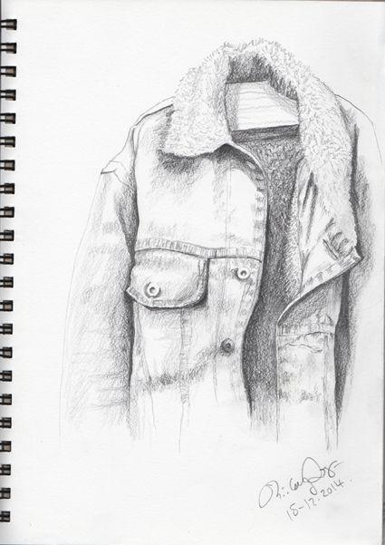 Jock's jacket 1. Pencil sketch. Shirley Dougan