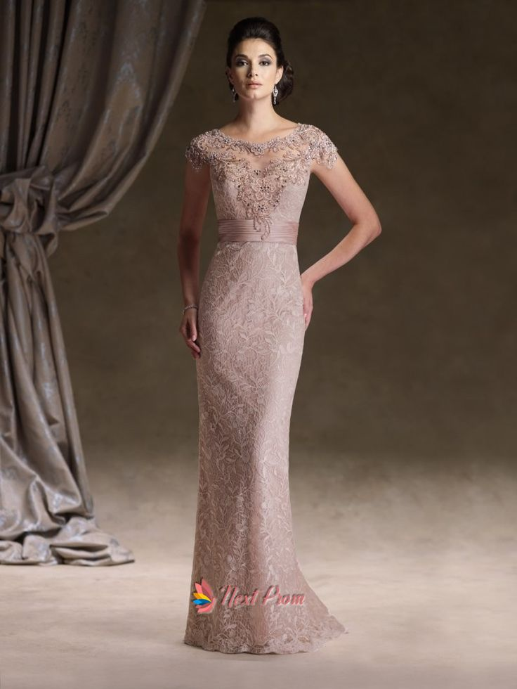 4f33b942732 Tank Top Floor Length Lace Sheath Column Rose Pink Mother Of The Bride Dress  With Beading