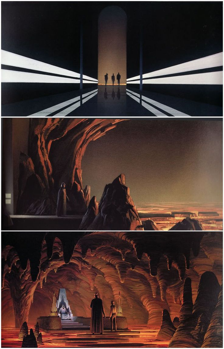 "ROTJ: These images are from ""The Art of Ralph McQuarrie"". The first 3 images showed Vader escorting Luke from the shuttle all the way to the Palace Entrance.  In these 3 images, Vader and Luke take an elevator down to the depths of the building, pass through a long ominous black corridor, and finally reach a subterranean room full of volcanic lava. Here Luke and Vader have to hop across a series of stepping stones, until they finally reach the Emperor's throne room."