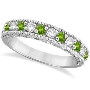 Peridot Rings | ... Diamond & Peridot Band Filigree Design Ring 14k White Gold (0.60ct