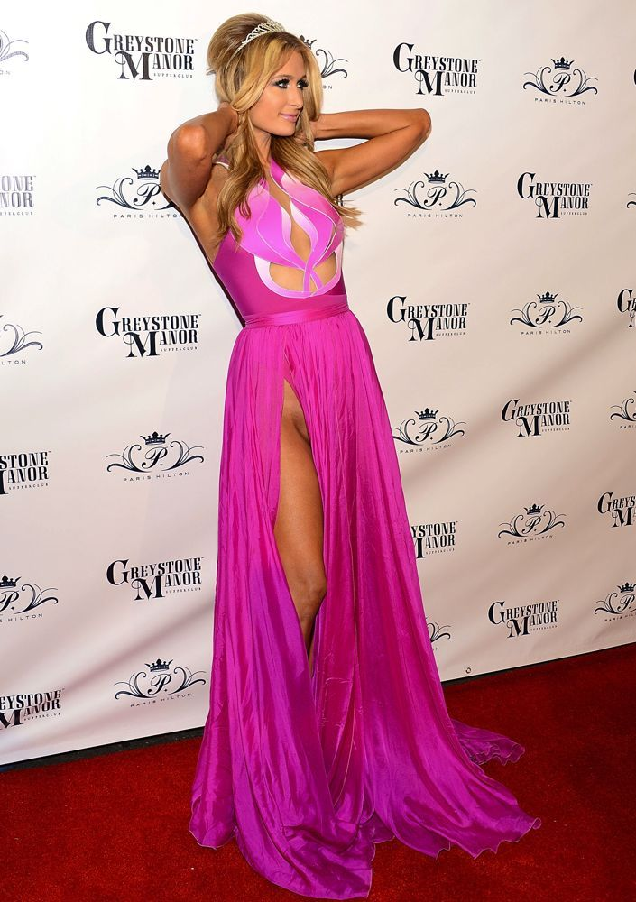 We all know that Paris loves to be the center of attention, but we assume she wasn't trying to put her nether region on display when she struck this awkward pose wearing a high-cut AlonLivné dress. Although with the socialite, you never know. Image: Getty