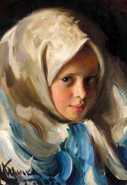 Young Girl In Blue Headscarf - Ivan Kulikov (1875 - 1941)