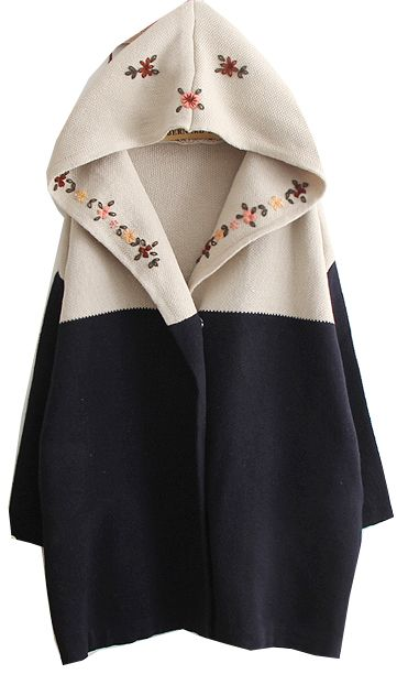 Navy Hooded Long Sleeve Tribal Embroidery Sweater Coat