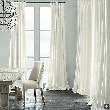 obscurcissement de la pièce lin naturel rideau blanc (deux panneaux) – EUR € 81.81