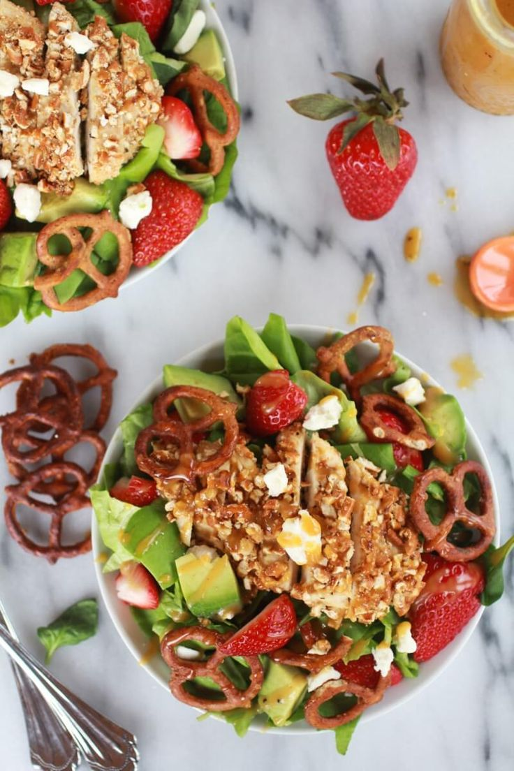 Honey Mustard Pretzel Crusted Chicken Salad with Spicy Honey Mustard Dressing-12