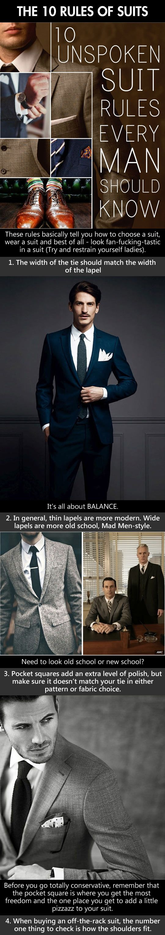 Style Tips:  Are you thinking of buying a Suit?  Wait!  Read this before heading out shopping.  10 unspoken suit rules every man should know.  ===> Follow us on Pinterest for Style Tips, Men's Essentials, updates on our SALES etc... ~ VujuWear