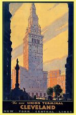 """CLEVELAND OHIO NEW YORK THE NEW UNION TERMINAL VINTAGE POSTER REPRO 12""""X16"""""""