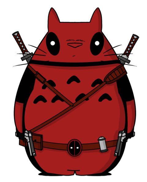 My neighbor deadpool  When studio ghibli and marvel are one lol   tags : crossover animacion anime