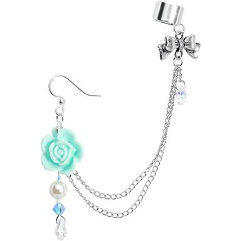 Handcrafted Aqua Rose Earring Chain Cuff MADE WITH SWAROVSKI ELEMENTS | Body Candy Body Jewelry #bodycandy