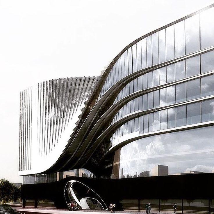 Façade ondulée du Darya Complex Center, un projet de l'architecte iranien …