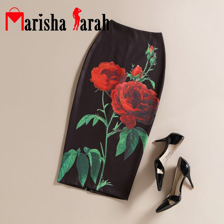 Zwarte Vintage Vrouwen Rose Bloem Gedrukt Rokken Hoge Taille Bloemen Potlood Elegante Midi Rok Office Lady Dragen Back Split Faldas(China (Mainland))