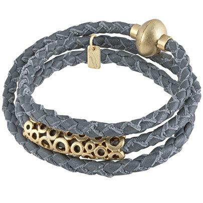 Champagne Gold Plated Bubble Grey Cord Bracelet...Sence Copenhagen #ZbyAlikiVergidou