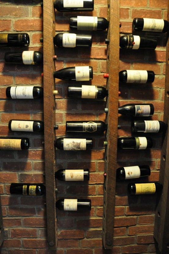 wine cellar - lining the wall as you walk down?