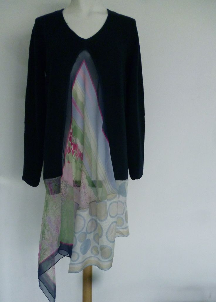 heavy knit wool tunic with vintage silk scarves front and bottom panels. Winter 2012/2013