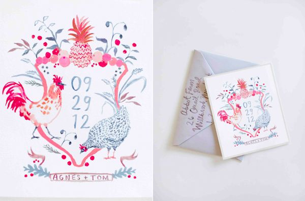 happy-menocal-watercolor-invitation-crest-chickens-pineapple-fruit-pink-grey-gray-farm-wedding-once-wed-magazine