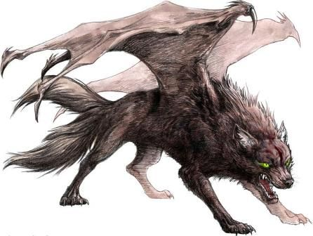 Evil black winged wolf - photo#11