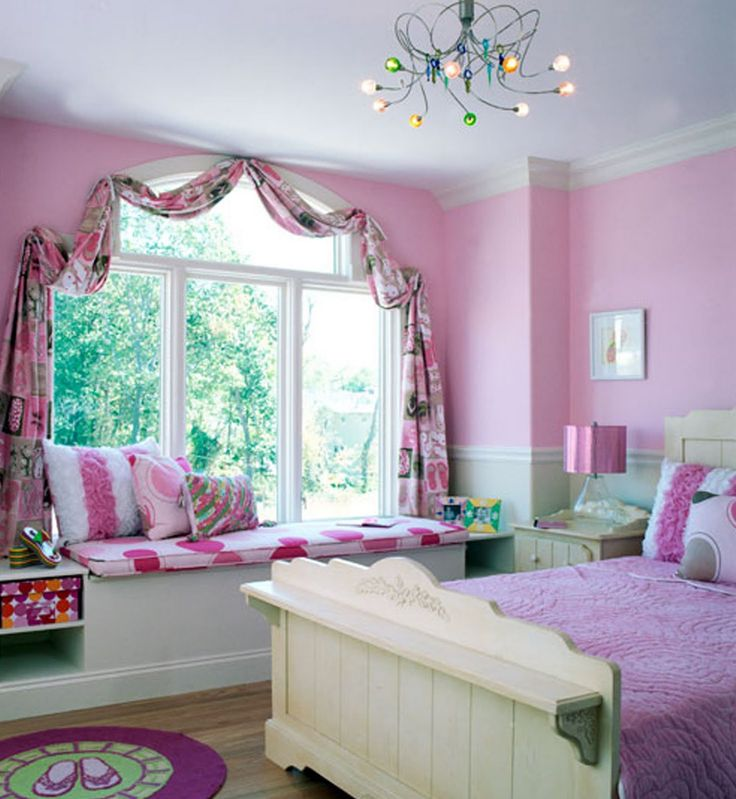 Charming Pink And White Themes Design Room For Teenage Girls With Large Window Types That Have