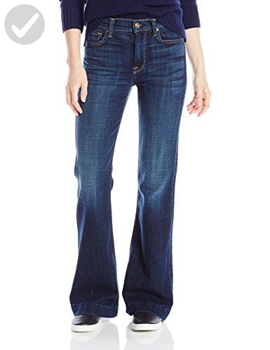 7 For All Mankind Women's Petite Tailorless Ginger Flare Jean, Royal Broken Twill, 24 - All about women (*Amazon Partner-Link)