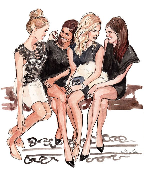 Girls Friends drawing, illustration/ Amiche, disegno, illustrazione - Art by #Inslee Haynes