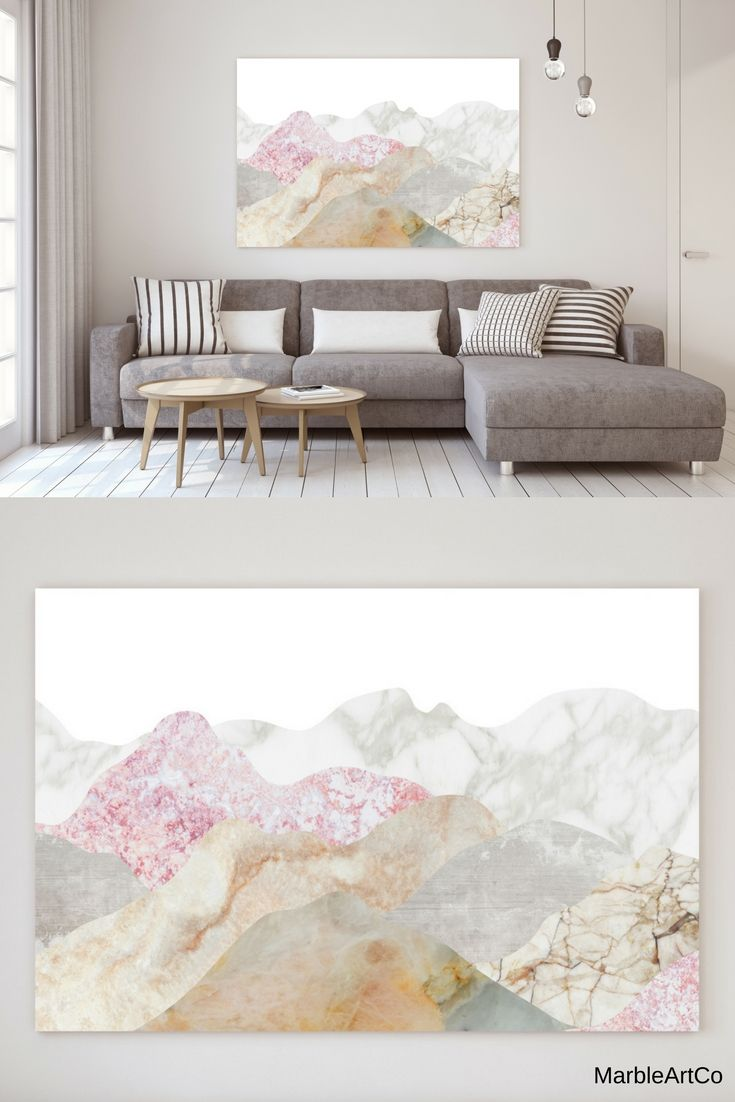 Mountains Framed Wall Art, Scandinavian Poster, Affiche Scandinave, Extra Large Wall Art, Nature Art, Horizontal Wall Art, Landscape Print - The mountains art prints are created using beautiful marble textures to show the beauty and diversity of nature. Bright print is perfect for any modern interior. Check out on MarbleArtCo
