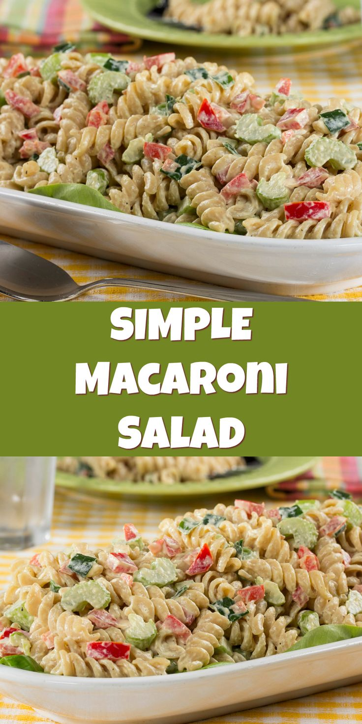 Simple Macaroni Salad is a healthy macaroni salad recipe that's potluck-worthy!