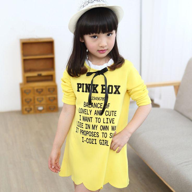 Высокое качество 2015 новое поступление осень с длинным рукавом письмо печатные дети девушки желтое платье рюшами рубашка горячая распродажа школьница блузка