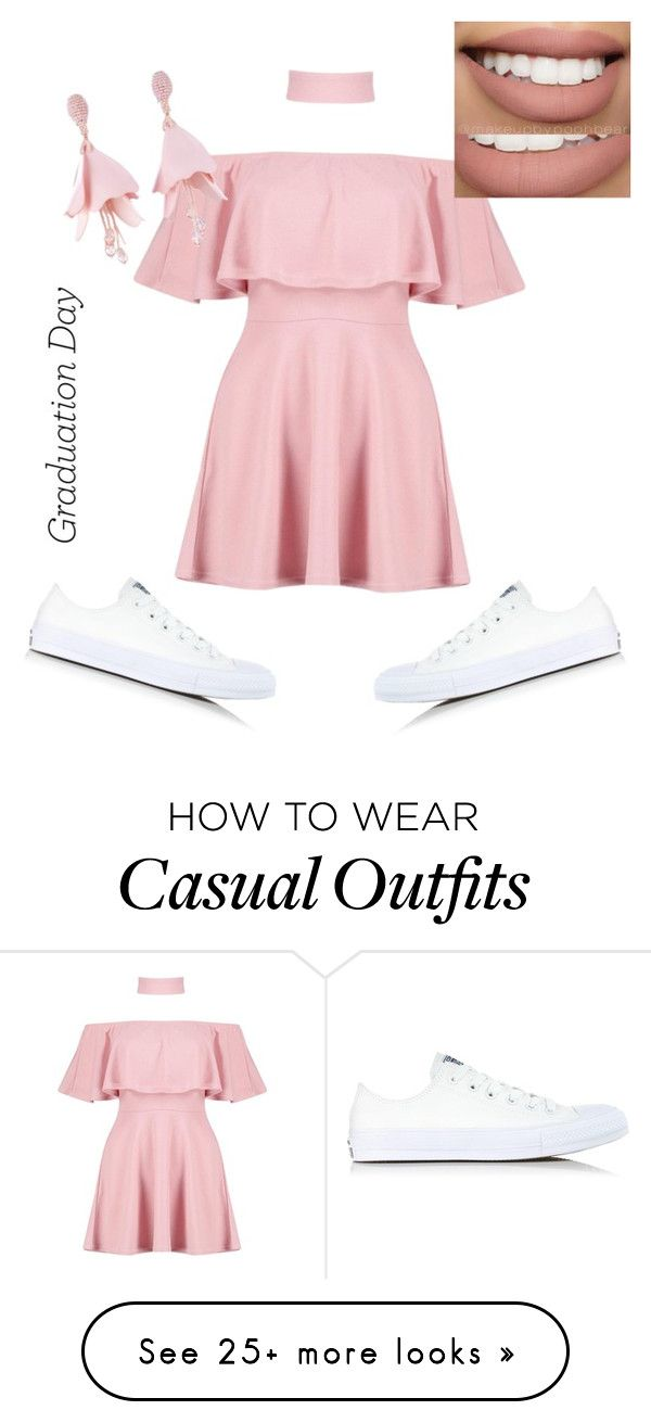 """""""Casual yet dressy (graduation day)"""" by lilbean007 on Polyvore featuring Converse, Boohoo, Oscar de la Renta and Bow & Arrow"""