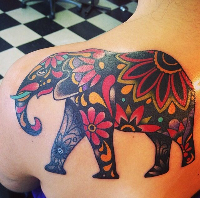 Elephant tattoo. Compliments of Ro from to the grave tattoos yubacity, ca