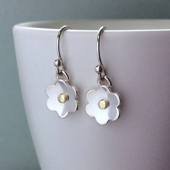 Sterling silver flower earrings gift for mum everyday