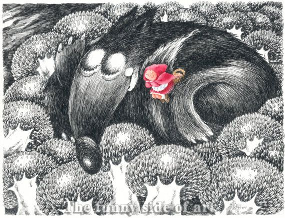 Little Red Riding Hood and the Big Bad Wolf   No 1, Giclee print of Original pen & ink, watercolor child illustration, Funny Valentine gift