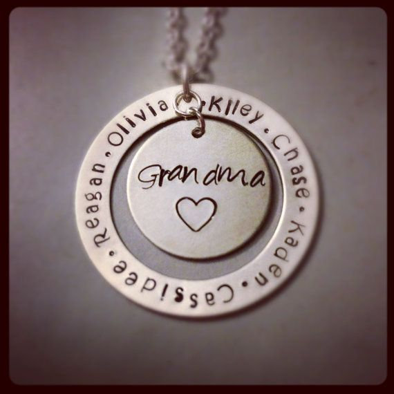 SALE-Personalized Necklace - Hand Stamped Jewelry - Grandma Mom Family Necklace