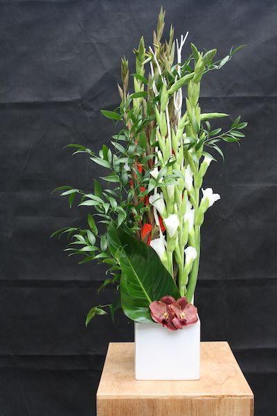 Bouquet de fleurs composition gla eul orchid e fleurs for Fleurs fraiches
