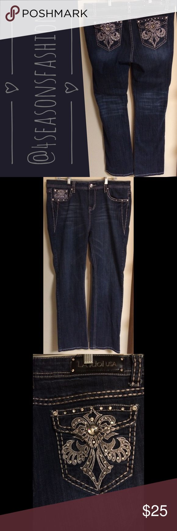 💥BRAND NEW LISTING💥 NWOT LA IDOL DARK WASH JUNIORS JEANS SZ 19. These stretch and have bling on the back pockets. LA IDOL Jeans