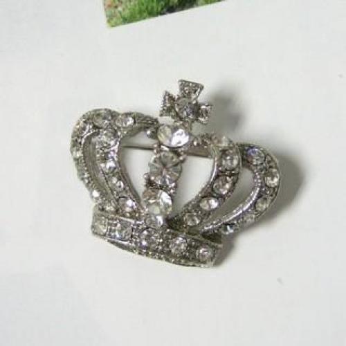 Rhinestone Brooch Silver - One Size